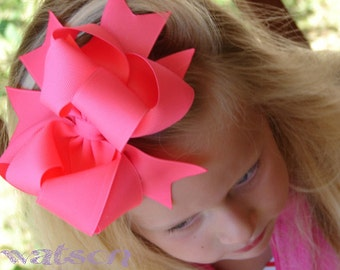 Neon Pink Hairbow.....Tutti Fruitti Pink Triple Layer Spikey Botutique Bow