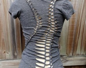 Gray Reconstructed Sexy T shirt Vneck