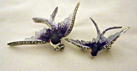 Enamel w/ Marcasites Blue Bird / Bluebird Scatter Pins Silvertone Metal