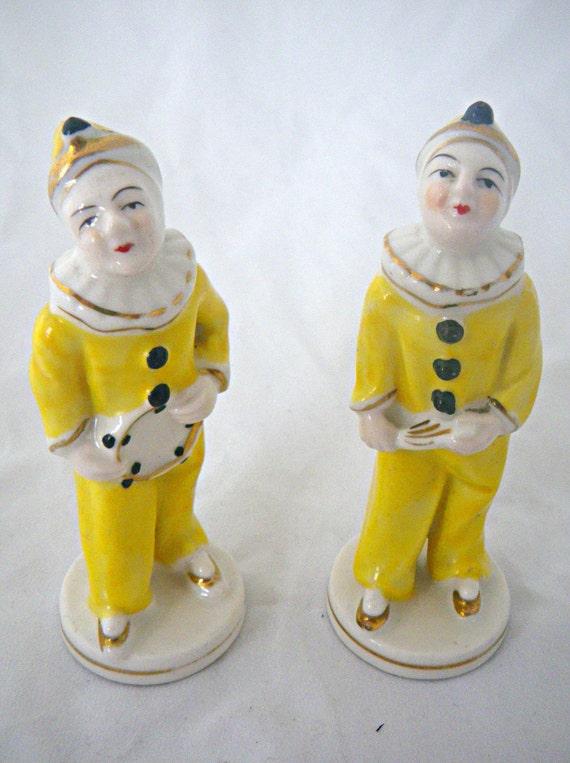 Two Vintage Pierrot Figurines by Moritama of Occupied Japan