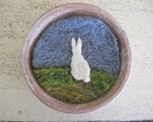 SALE- Felt Wall Hanging, Wool Artwork, Needle Felted Miniature Rabbit Silhouette