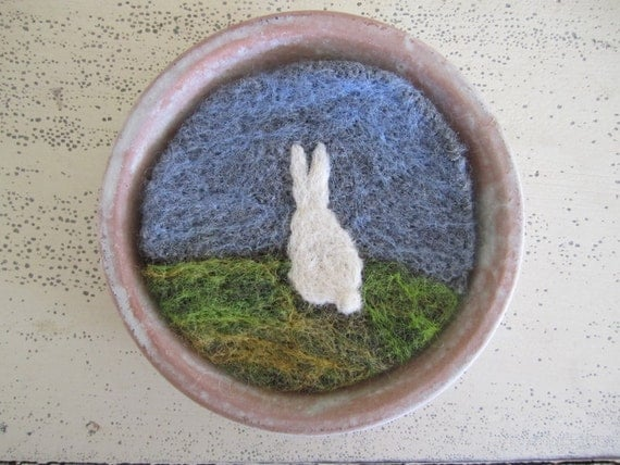 SALE- Felt Wall Hanging, Wool Artwork, Needle Felted Miniature Rabbit Silhouette