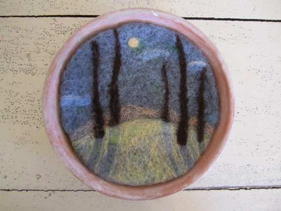 Felt Wall Hanging, Wool Artwork, Needle Felted Moonlit Forest