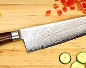 "10 Inch Chef Knife.  VG10 San Mai 64 layered Nickel & Stainless Damascus Sides,  Core of VG-10 ""Super Steel"", Desert Ironwood Dolphin Handle"