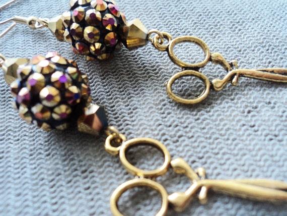 Funky Gold Hair Stylist Earrings