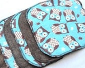 Cloth wipes - Cotton Velour or Baby terry and flannel - Set of 5 or 6 - Baby Washcloths - Shower Gift - Cloth Diaper - Blue and Brown Owls