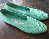 Vintage Woven Teal Flats by connie, size 8.5, Made in Brazil