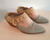 vintage Pina Colada multicolor cowboy clogs, size 8