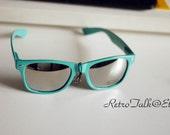Mint turquoise Mirror Lenses metal rivets unisex sunglasses