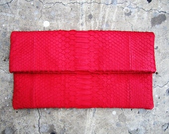 NEON - Red Fold Over Python Snakeskin Leather Clutch Bag