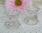 Vintage Crystal Candle Holder, Lead Crystal, Princess House, Shabby Chic, Set of 2