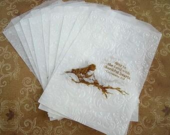 "Wedding Favor Glassine Bags 25 Piece Set, Elegant Hand Embossed Design for Candy,  Showers 6.75"" x 4.5"""