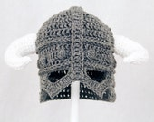 Skyrim Hat / Helmet, Crochet Grey Viking Helm with Horns, send size choice baby - adult