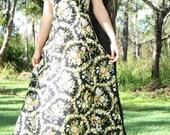 SALE.. Vintage 1970s Spring/Summer Black Cotton Floral Maxi Dress