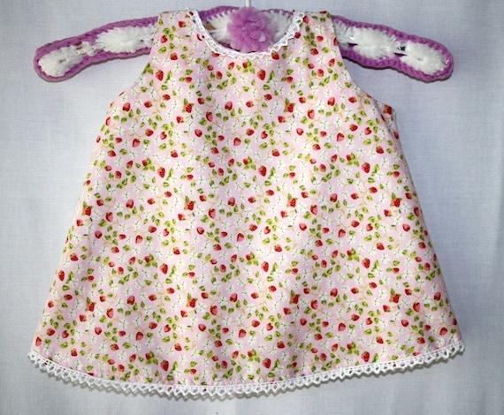 Little Strawberries Pale Pink Summer Baby Girl Dress