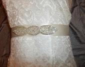 Crystal Rhinestone Beaded Wedding Sash, - Jolene - Silver Crystal Sash, Bridal Belt, Ribbon Sash, Luxe Bridal Sash