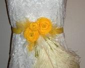 Bridal Sash - Xanthe - High Couture Fashion Statement Yellow Flowers, Ostrich Plumes, Sweet Peas, Grosgrain Ribbon, Wedding Gown Sash