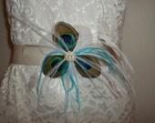 Bridal Sash - Bridal wedding sash for bridal gown Peacock Teal White Blue - choice of satin sash