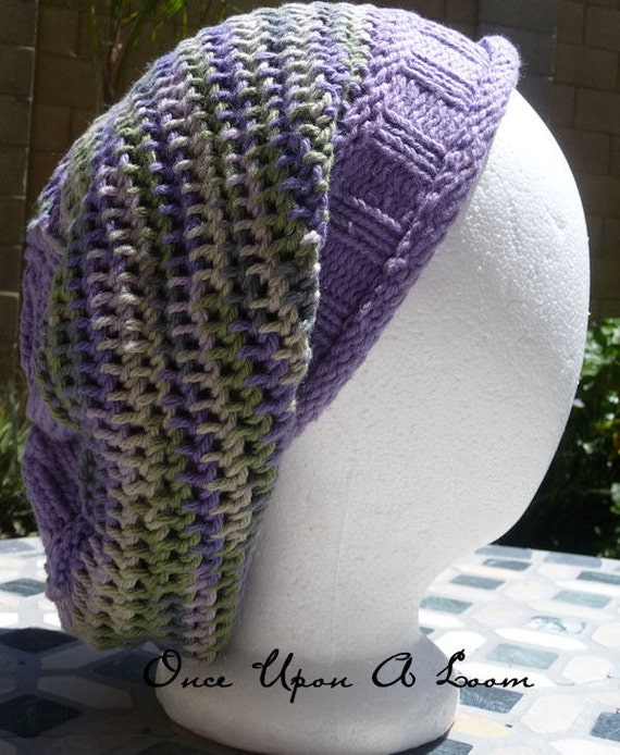 Items similar to Alice Blossom Slouch Hat Loom Knit Pattern on Etsy