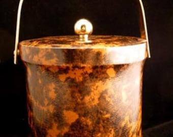 Mottled Dark and Light Brown Vinyl Ice Bucket RETRO COOL Vintage 1960s