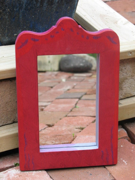 Mirror Small Red Painted - Red mirror - Painted mirror - Small mirror