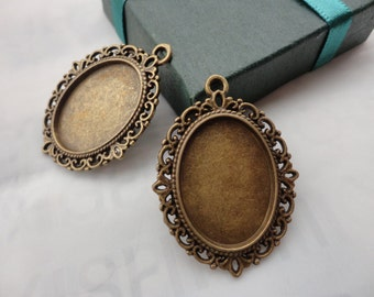 20Pcs 36x29mm Antique Bronze Plated Brass Cabochon Base frame Base for making resin photo necklaces and pendants