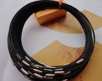 38pcs 18 inch 1mm thickness black  stainless steel round choker necklace wires with screw clasps