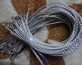50 silver  faux braided leather necklace cord 22-24 inch with white k fittings