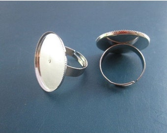 100pcs- Silver Ring Base Adjustable with 20mm Round Pad