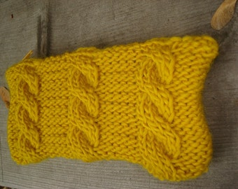 goldenrod cable knit clutch