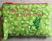 Zip Wallet Coin Purse Quilted Embroidered Cosmetic Bag Faith Trust Pixie Dust