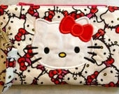 Zip Wallet Coin Purse Quilted Applique Cosmetic Bag Kitty Bow Wristlet Case