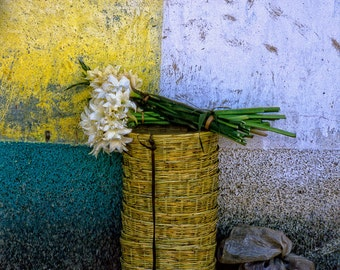 Lilies in a Basket from Mexico, Laminated archival print