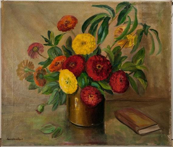 Lois Denton Oil on linen, Zinnias