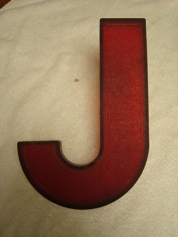 """Vintage Plastic 10"""" Slotted Drive-In Theater Sign Red Letter """"J"""""""