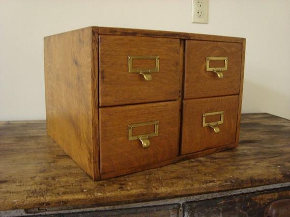 Antique Oak Wagemaker Library Card Catalog 4 Drawer File Recipe Box Photo Cabinet