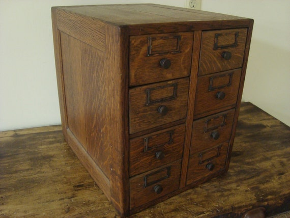 Antique Oak Library Card Catalog 8 Drawer File Recipe Box Photo Cabinet