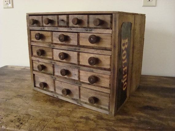 Antique 17 Drawer Bolero Orange Crate File Recipe Spice Box Art Photo Tool Cabinet Card Catalog