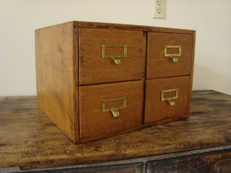 Antique Oak Wagemaker Library Card Catalog 4 Drawer File