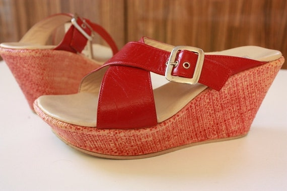 Vintage Botticelli Wedge Sandals - Lipstick Red - Italian