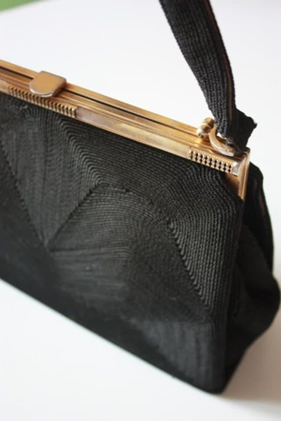 Vintage Black Corde Hand Bag / Clutch Chic