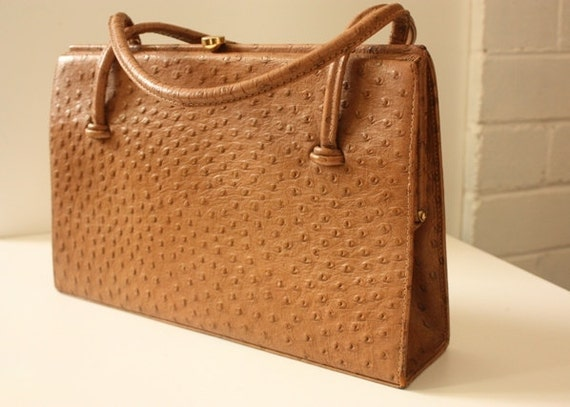 RESERVED FOR PETA Vintage 50's Ostrich Leather  Hand Bag by Waldybag