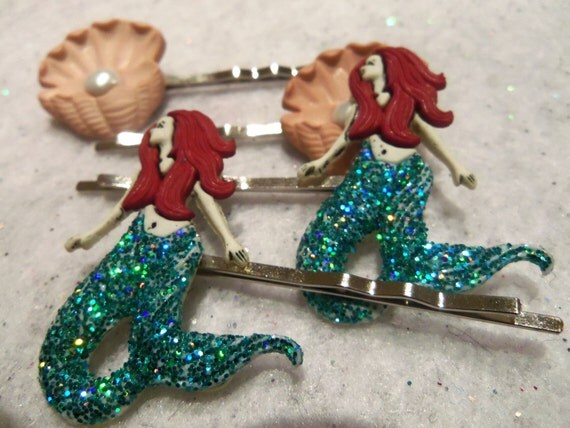 MERMAIDS PEARLS and OYSTERS Hair Bobby Pins by Juste Jolie