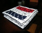 Patriotic Quilted Coasters, Red, White and Blue, Modern, Independence Day, Summer Home Decor, Hostess Gift, Summer Home Decor