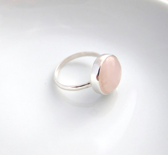 Handmade sterling silver ring with round rose quartz, rose quartz ring, love stone, light pink, size 6.5