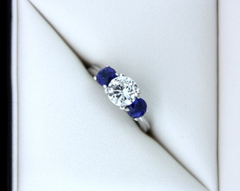 1.40ct Diamond and Sapphire Engagement Ring