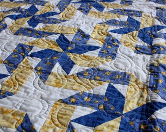 "Handmade ""Gift Wrap"" Quilt in Blue & Yellow  80 1/2"" X 86"""