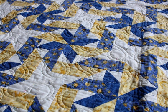 """Handmade """"Gift Wrap"""" Quilt in Blue & Yellow  80 1/2"""" X 86"""""""