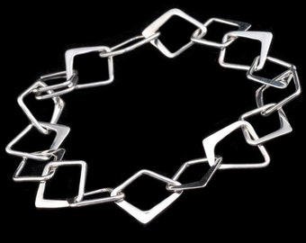 Square Bracelet , Sterling silver, handmade hammered Squares