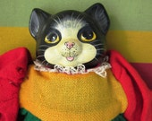 Ceramic Head Cat Dressed Cat Doll